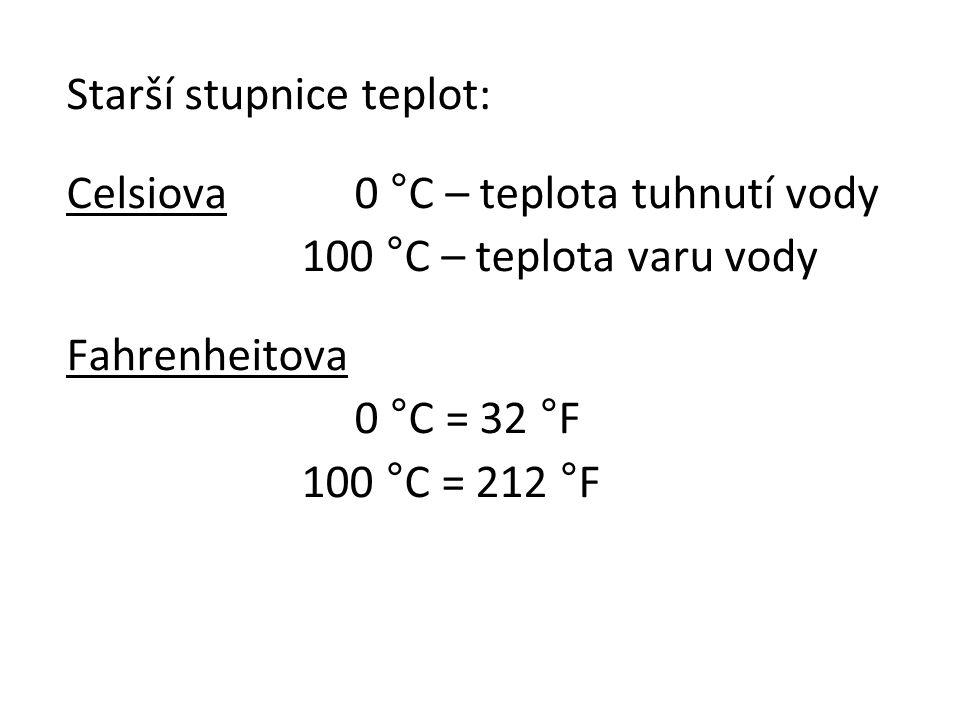 Starší stupnice teplot: