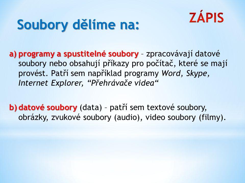 ZÁPIS Soubory dělíme na: