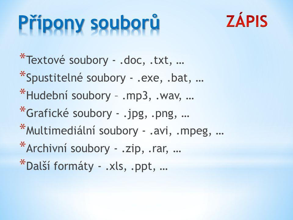 Přípony souborů ZÁPIS Textové soubory - .doc, .txt, …