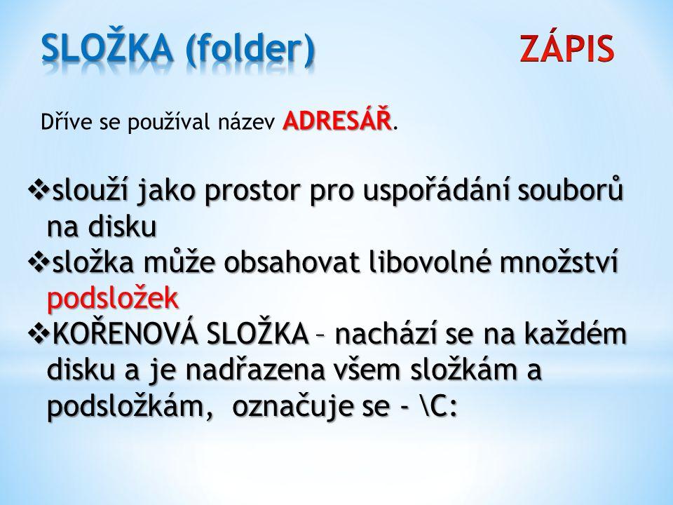 SLOŽKA (folder) ZÁPIS. Dříve se používal název ADRESÁŘ. slouží jako prostor pro uspořádání souborů na disku.