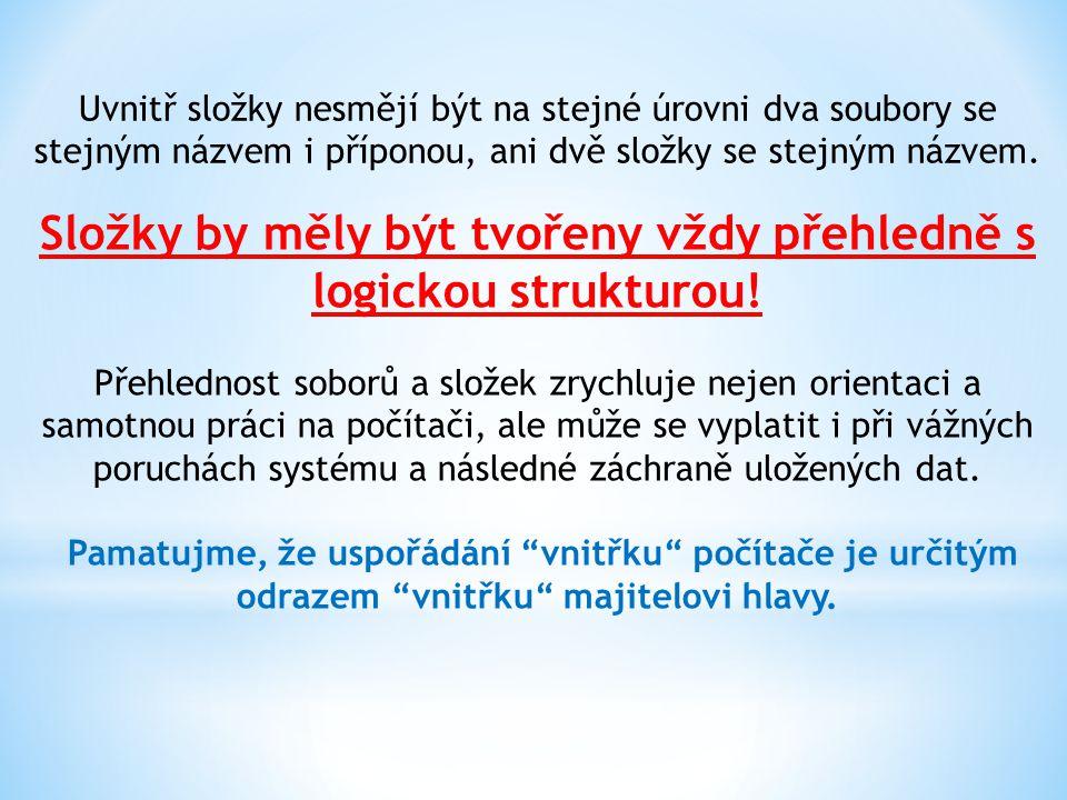 Složky by měly být tvořeny vždy přehledně s logickou strukturou!