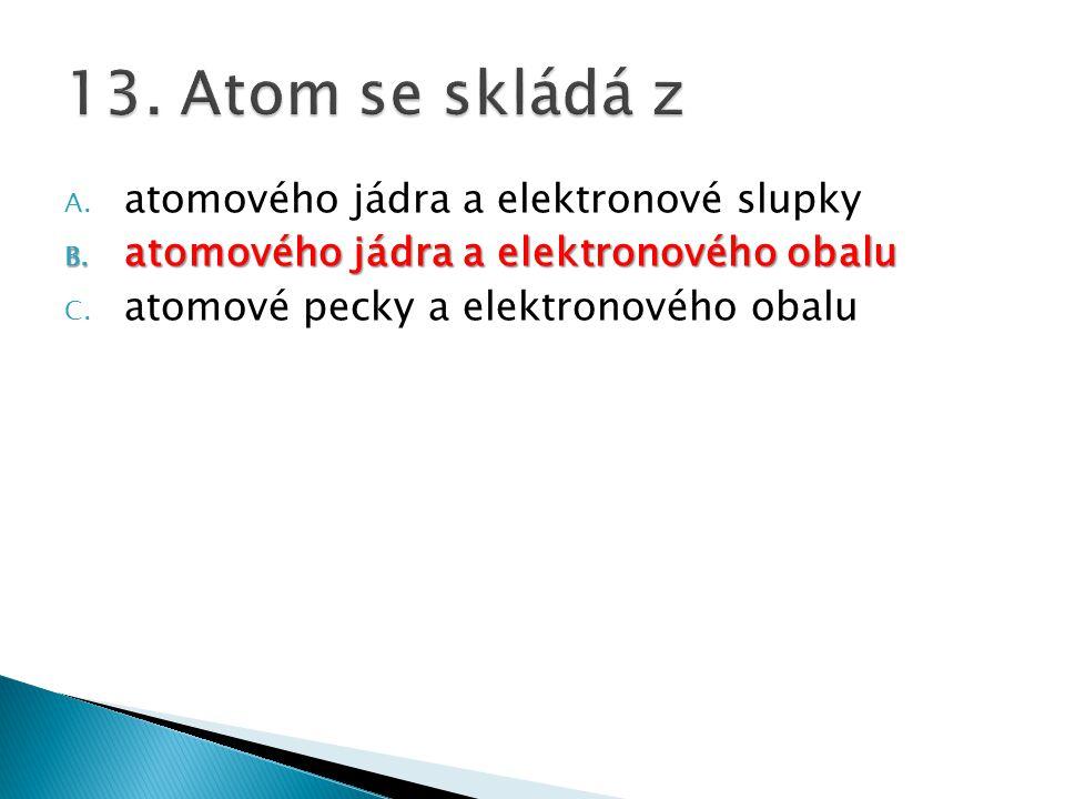 13. Atom se skládá z atomového jádra a elektronové slupky