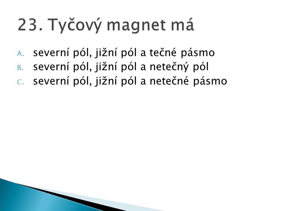 23. Tyčový magnet má severní pól, jižní pól a tečné pásmo
