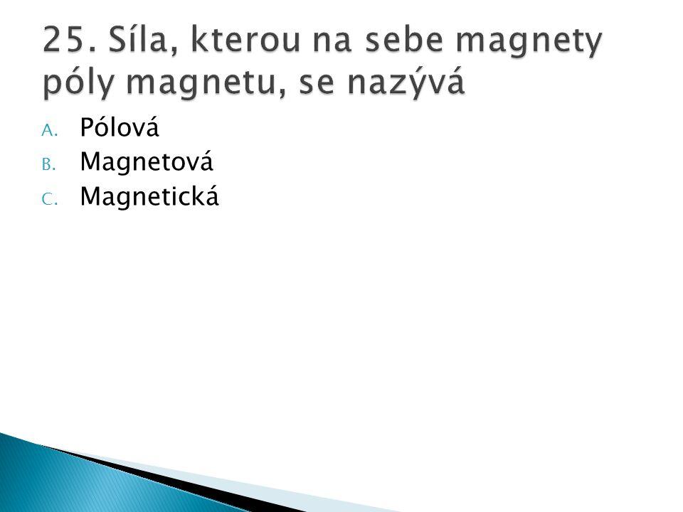 25. Síla, kterou na sebe magnety póly magnetu, se nazývá