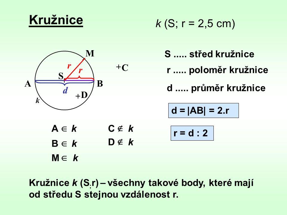 Kružnice k (S; r = 2,5 cm) M S ..... střed kružnice r C r