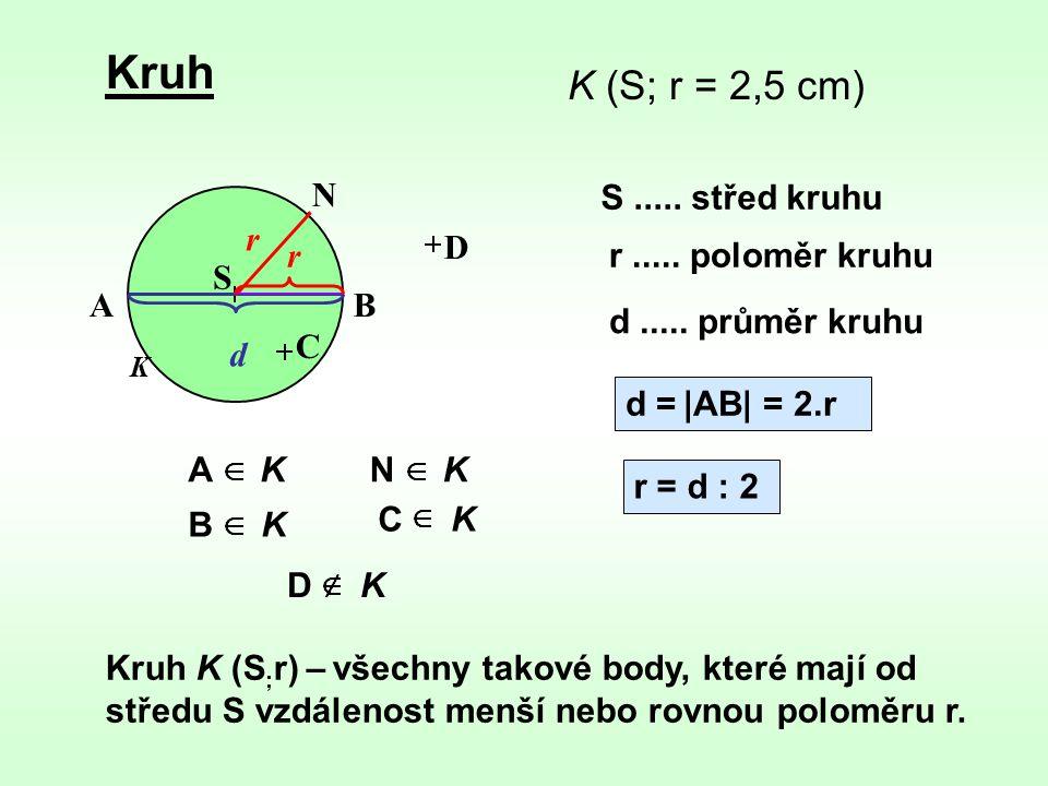 Kruh K (S; r = 2,5 cm) N S ..... střed kruhu r D r