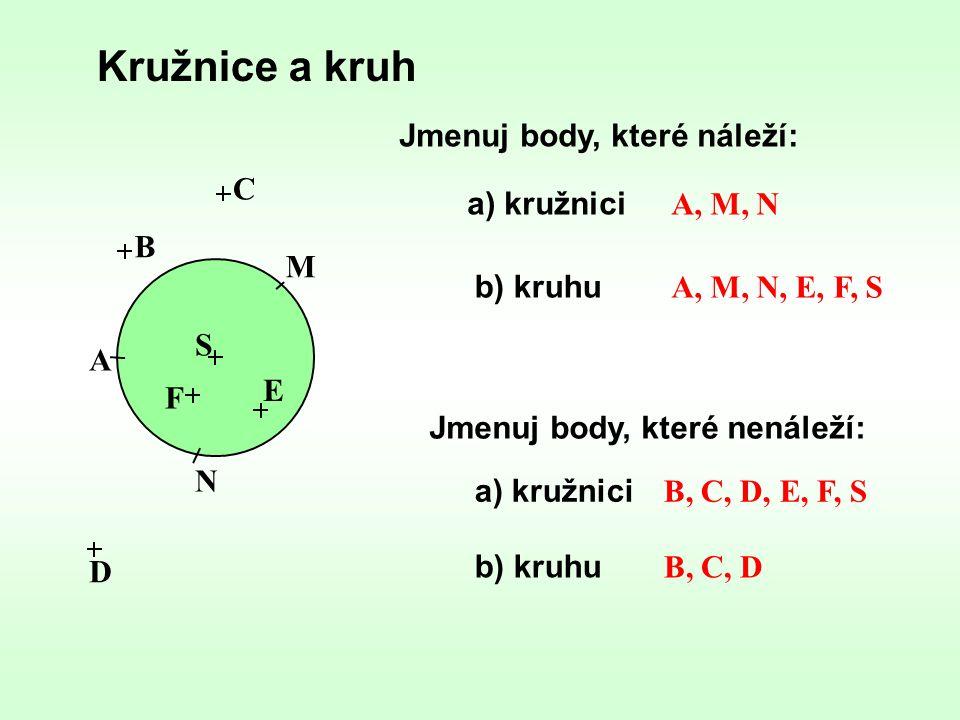 Kružnice a kruh Jmenuj body, které náleží: C a) kružnici A, M, N B M