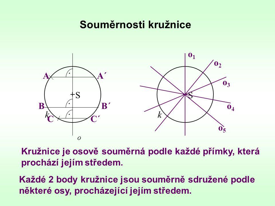 Souměrnosti kružnice o1 o2 k A k A´ o3 S S B B´ o4 C C´ o5