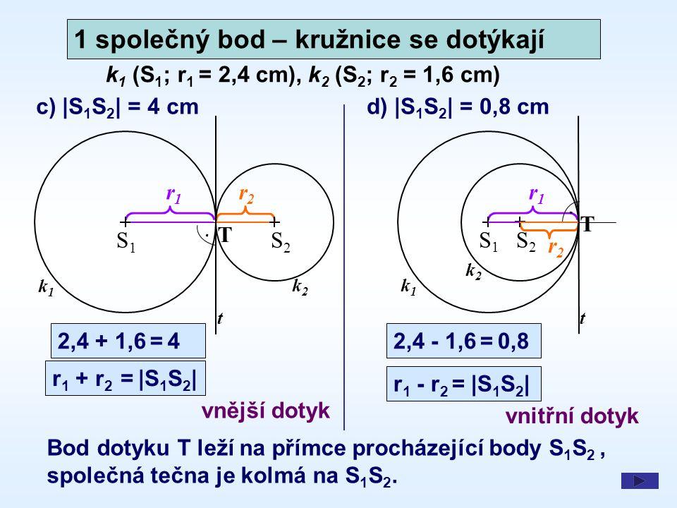 1 společný bod – kružnice se dotýkají