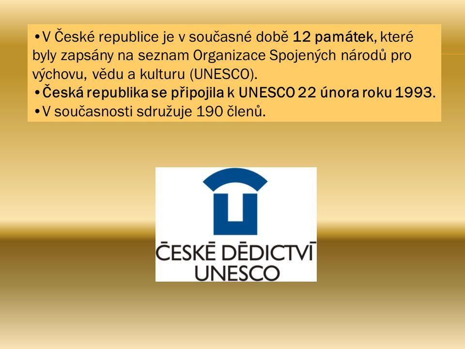 V České republice je v současné době 12 památek, které byly zapsány na seznam Organizace Spojených národů pro výchovu, vědu a kulturu (UNESCO).