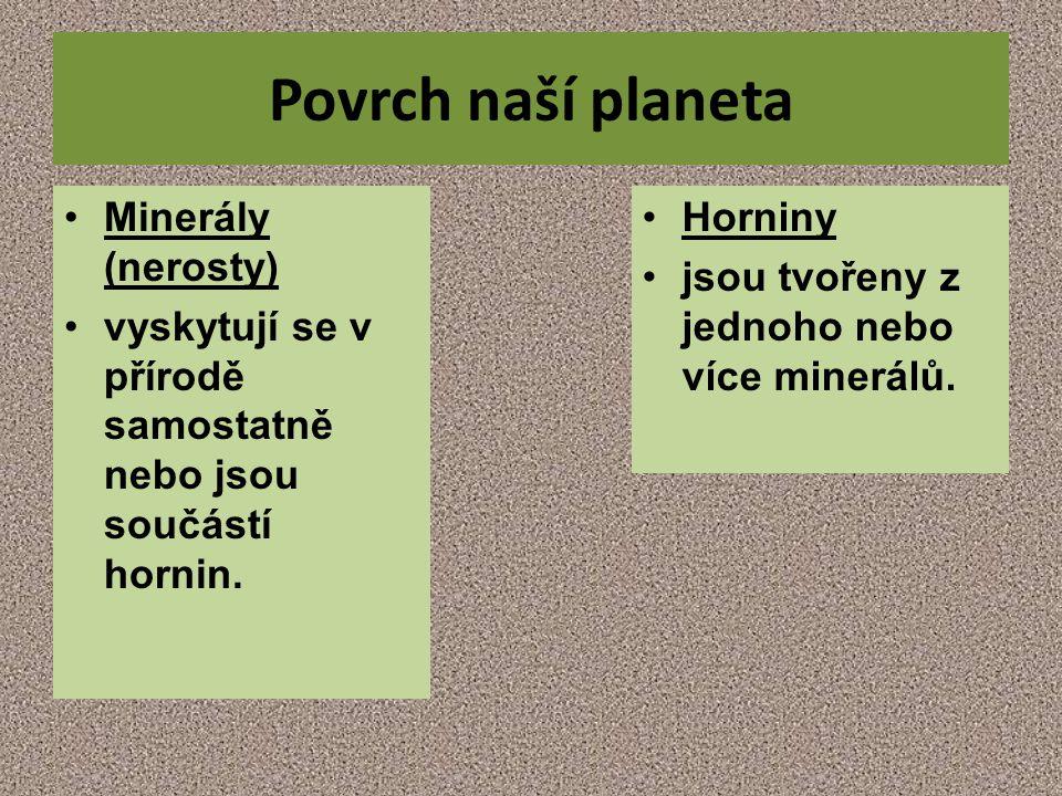 Povrch naší planeta Minerály (nerosty)