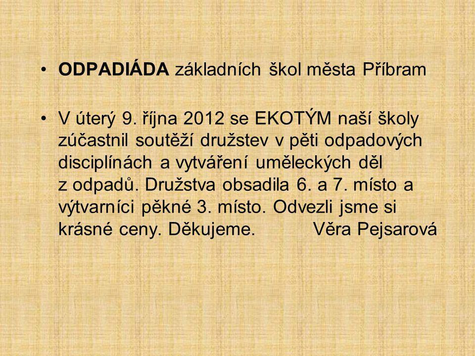 ODPADIÁDA základních škol města Příbram