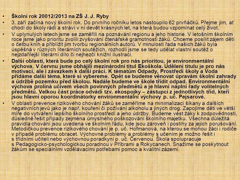 Školní rok 20012/2013 na ZŠ J. J. Ryby