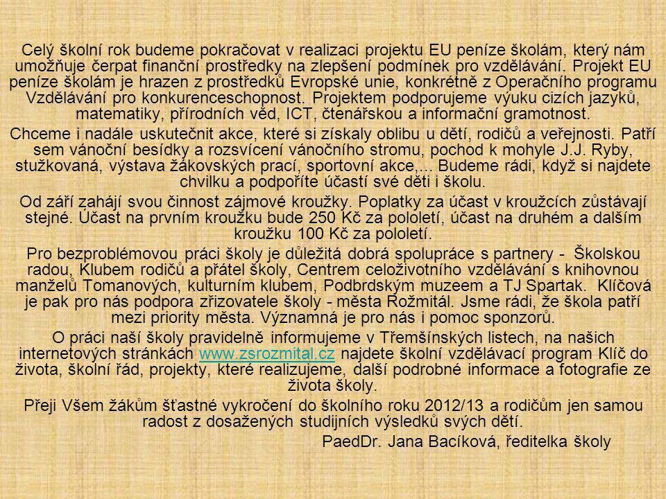PaedDr. Jana Bacíková, ředitelka školy