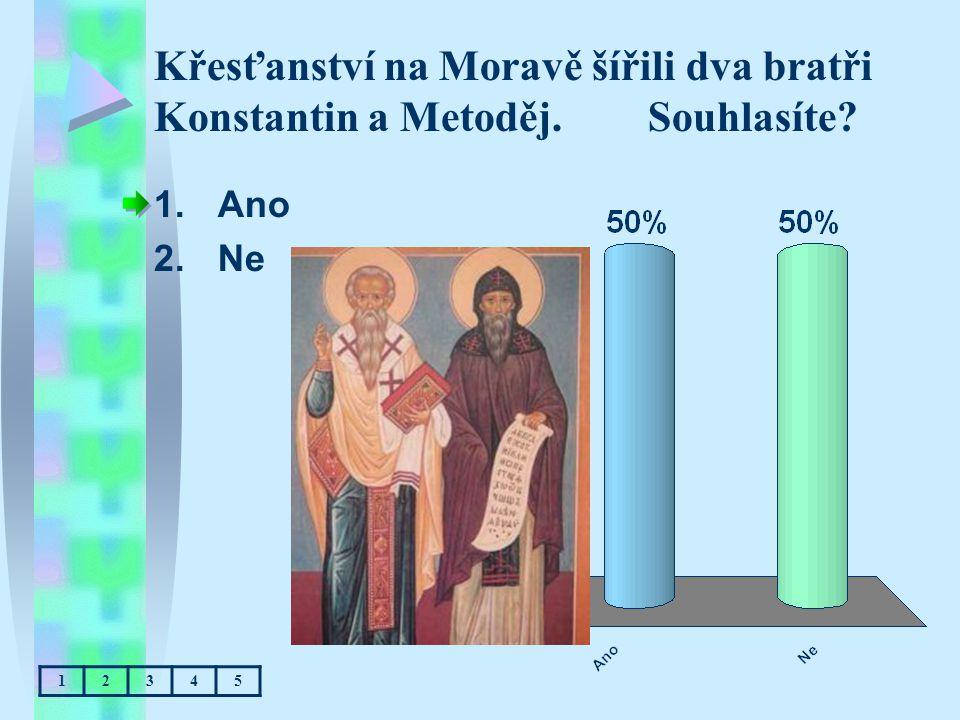 Křesťanství na Moravě šířili dva bratři Konstantin a Metoděj