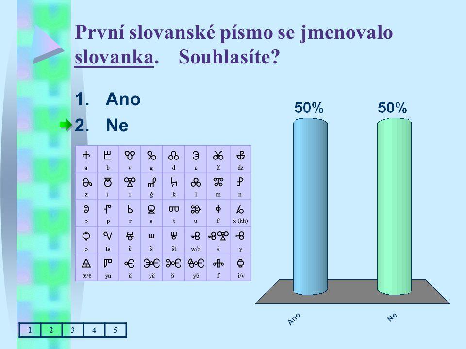 První slovanské písmo se jmenovalo slovanka. Souhlasíte