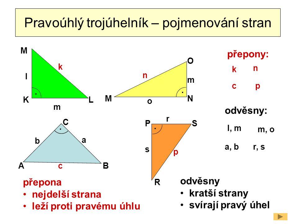 Pravoúhlý trojúhelník – pojmenování stran