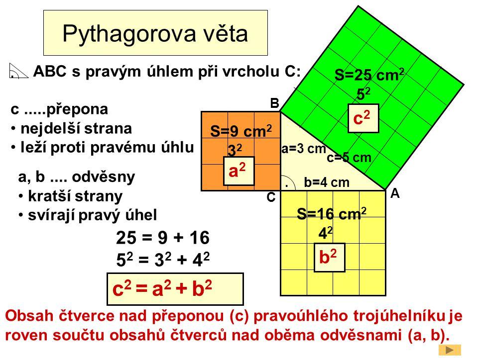 Pythagorova věta c2 = a2 + b2 c2 a2 25 = 9 + 16 52 = 32 + 42 b2
