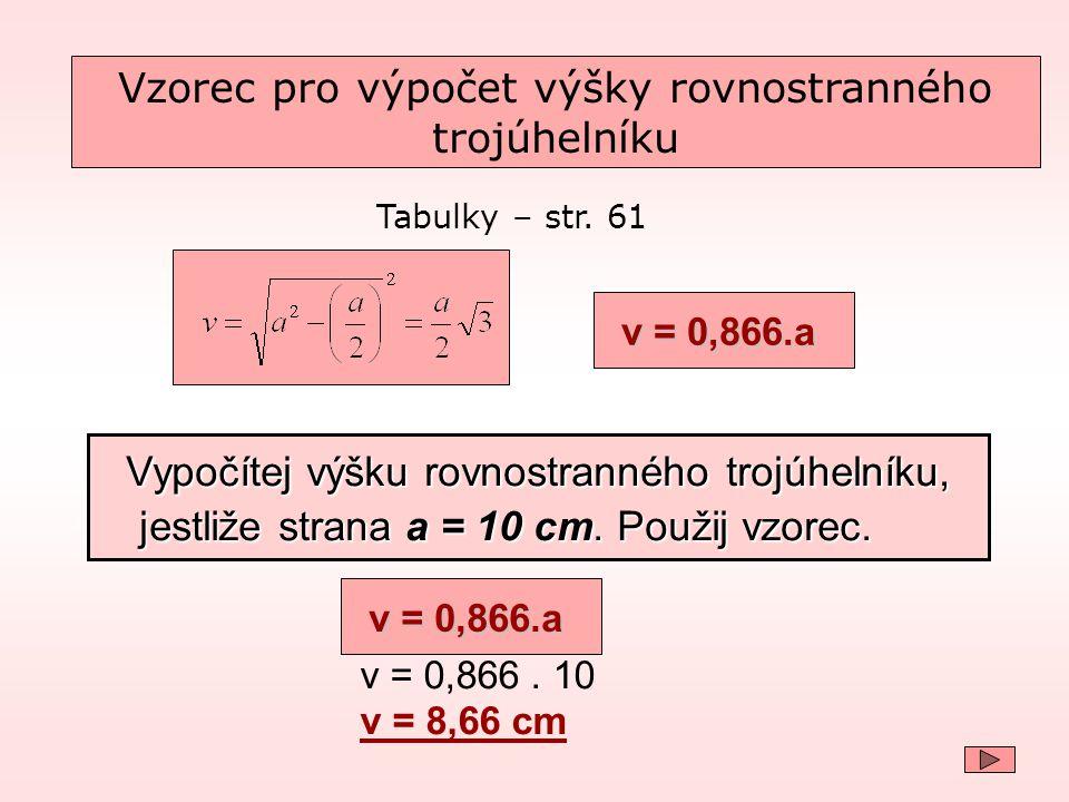 Vzorec pro výpočet výšky rovnostranného trojúhelníku