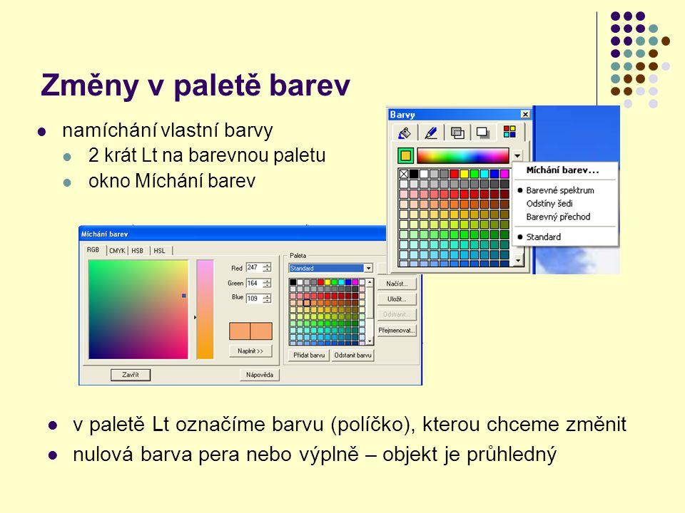 Změny v paletě barev namíchání vlastní barvy. 2 krát Lt na barevnou paletu. okno Míchání barev.