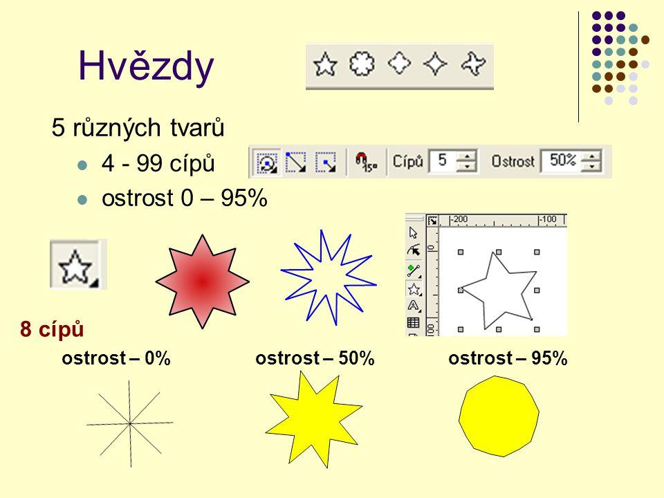 Hvězdy 5 různých tvarů 4 - 99 cípů ostrost 0 – 95% 8 cípů ostrost – 0%