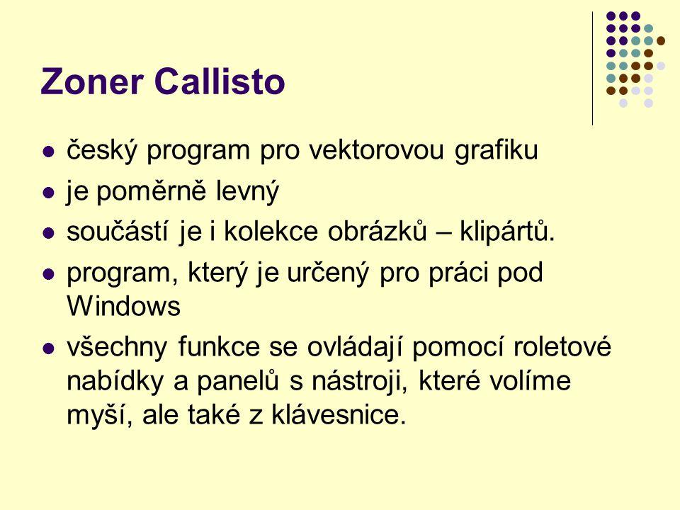 Zoner Callisto český program pro vektorovou grafiku je poměrně levný