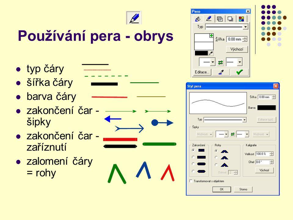 Používání pera - obrys typ čáry šířka čáry barva čáry