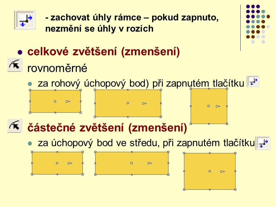 celkové zvětšení (zmenšení) rovnoměrné