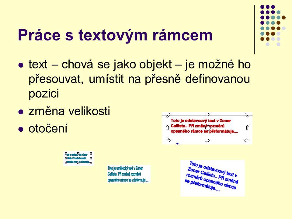 Práce s textovým rámcem