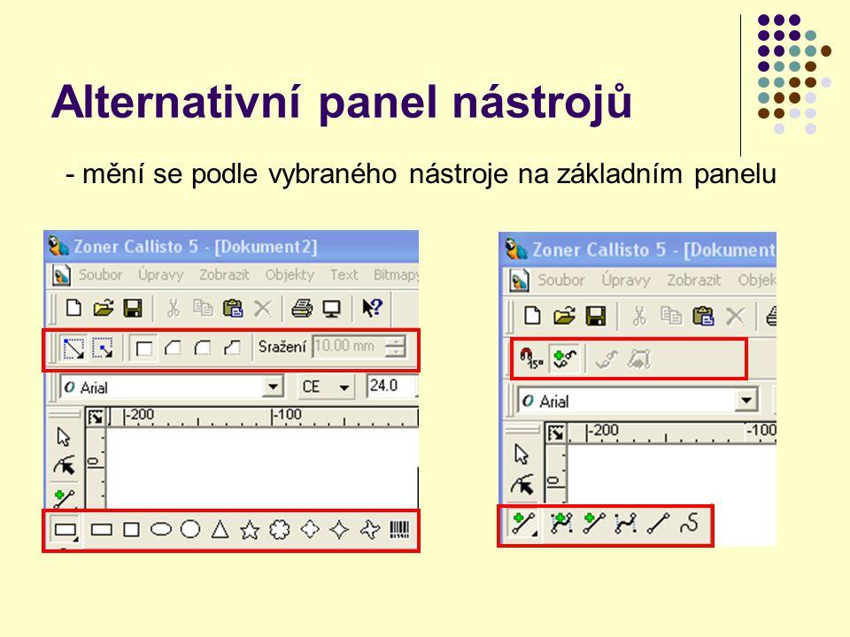 Alternativní panel nástrojů