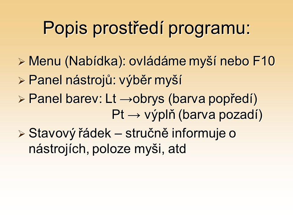 Popis prostředí programu: