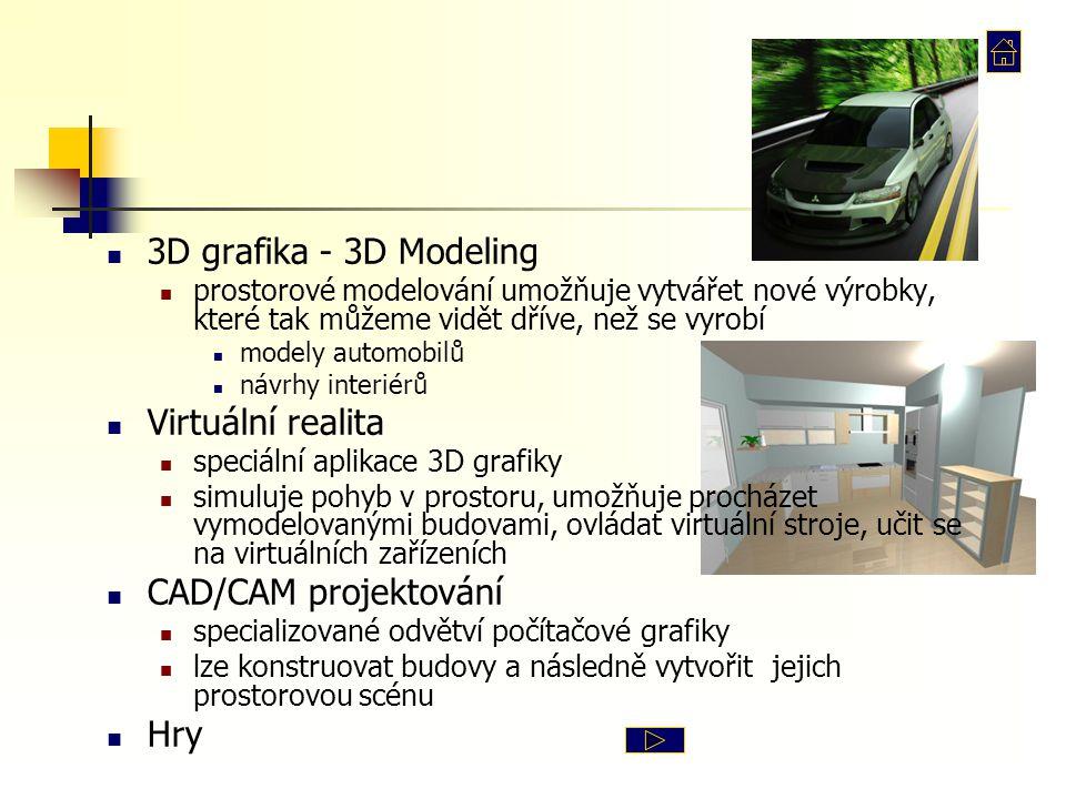 3D grafika - 3D Modeling Virtuální realita CAD/CAM projektování Hry