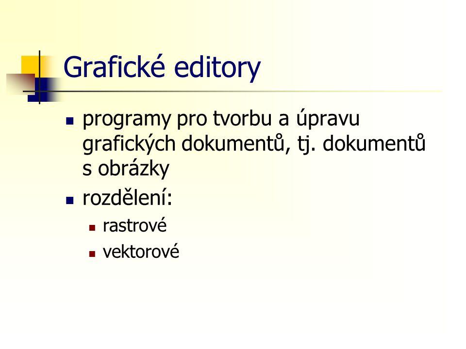 Grafické editory programy pro tvorbu a úpravu grafických dokumentů, tj. dokumentů s obrázky. rozdělení: