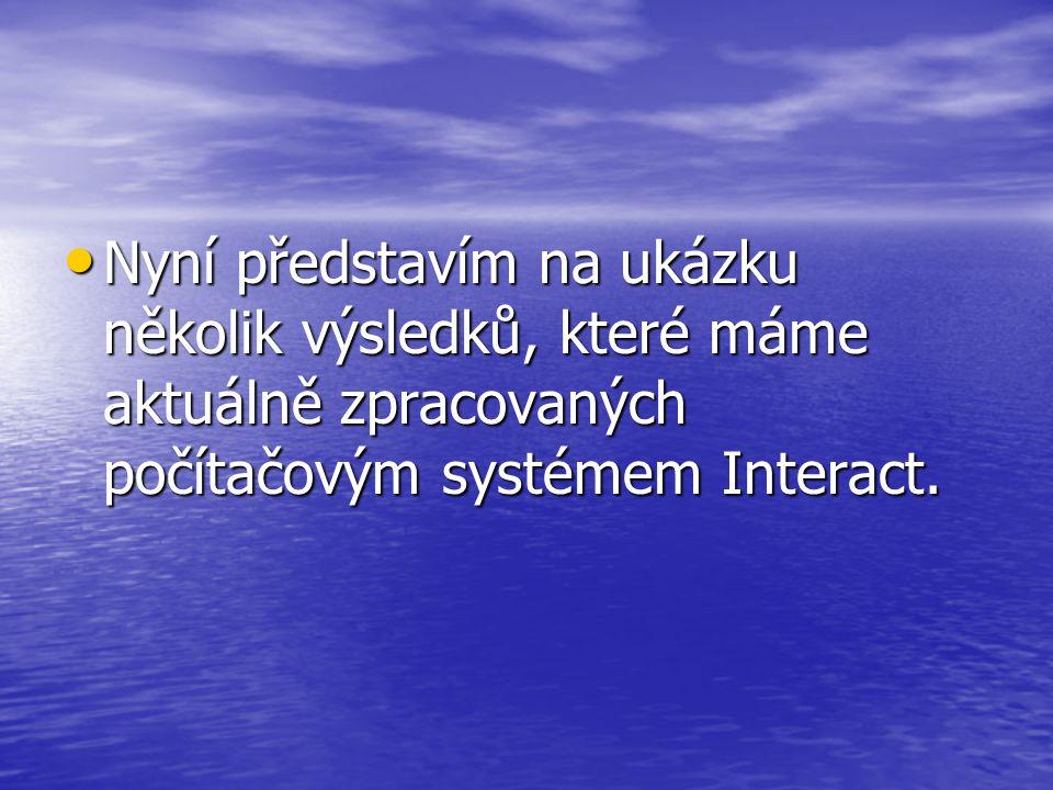 Nyní představím na ukázku několik výsledků, které máme aktuálně zpracovaných počítačovým systémem Interact.