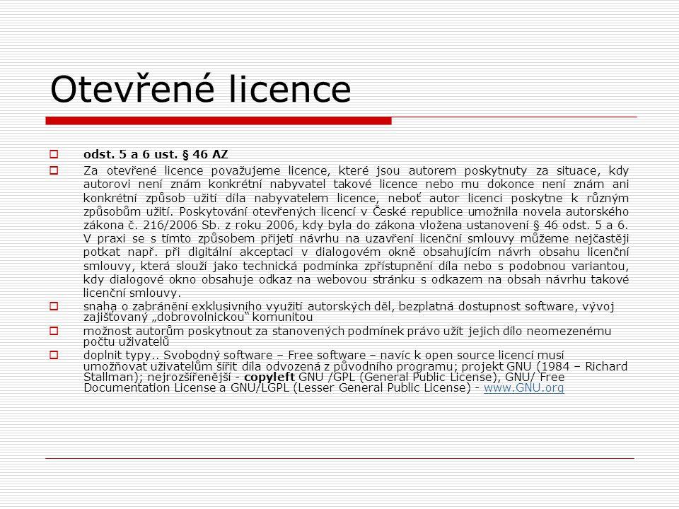 Otevřené licence odst. 5 a 6 ust. § 46 AZ