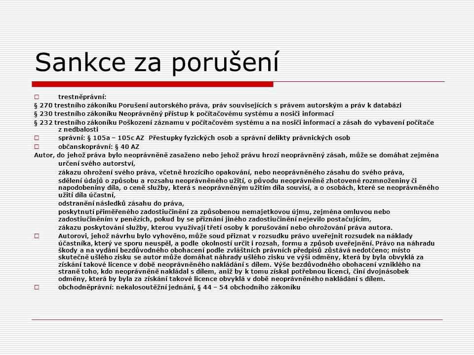 Sankce za porušení trestněprávní: