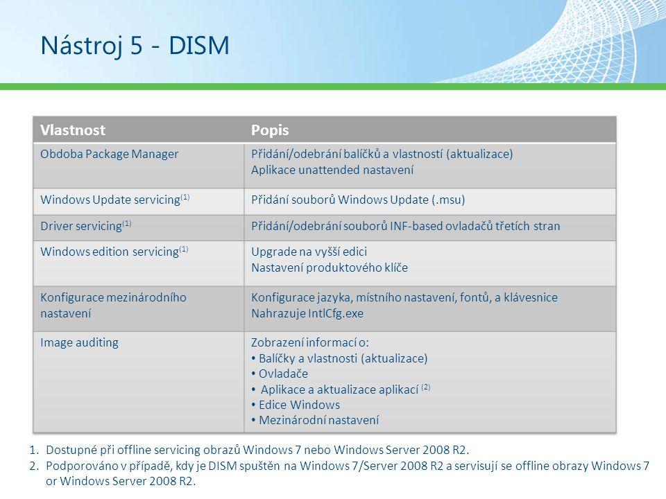 Nástroj 5 - DISM Vlastnost Popis Obdoba Package Manager
