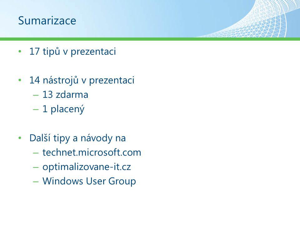 Sumarizace 17 tipů v prezentaci 14 nástrojů v prezentaci 13 zdarma