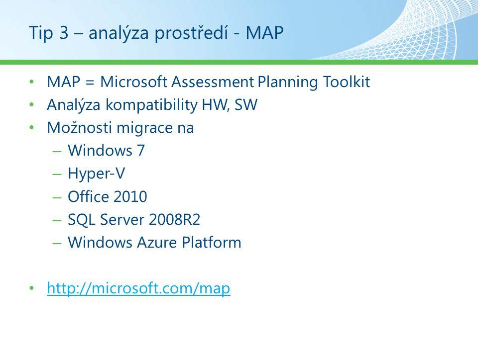 Tip 3 – analýza prostředí - MAP