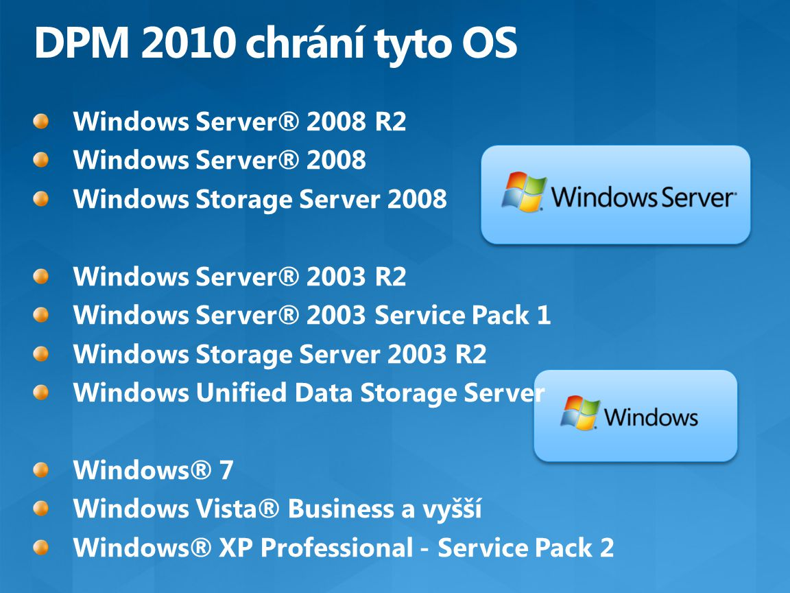 DPM 2010 chrání tyto OS Windows Server® 2008 R2 Windows Server® 2008
