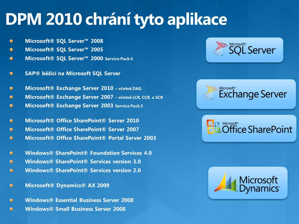 DPM 2010 chrání tyto aplikace