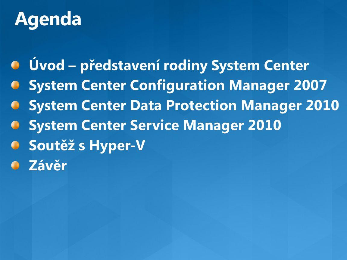 Agenda Úvod – představení rodiny System Center