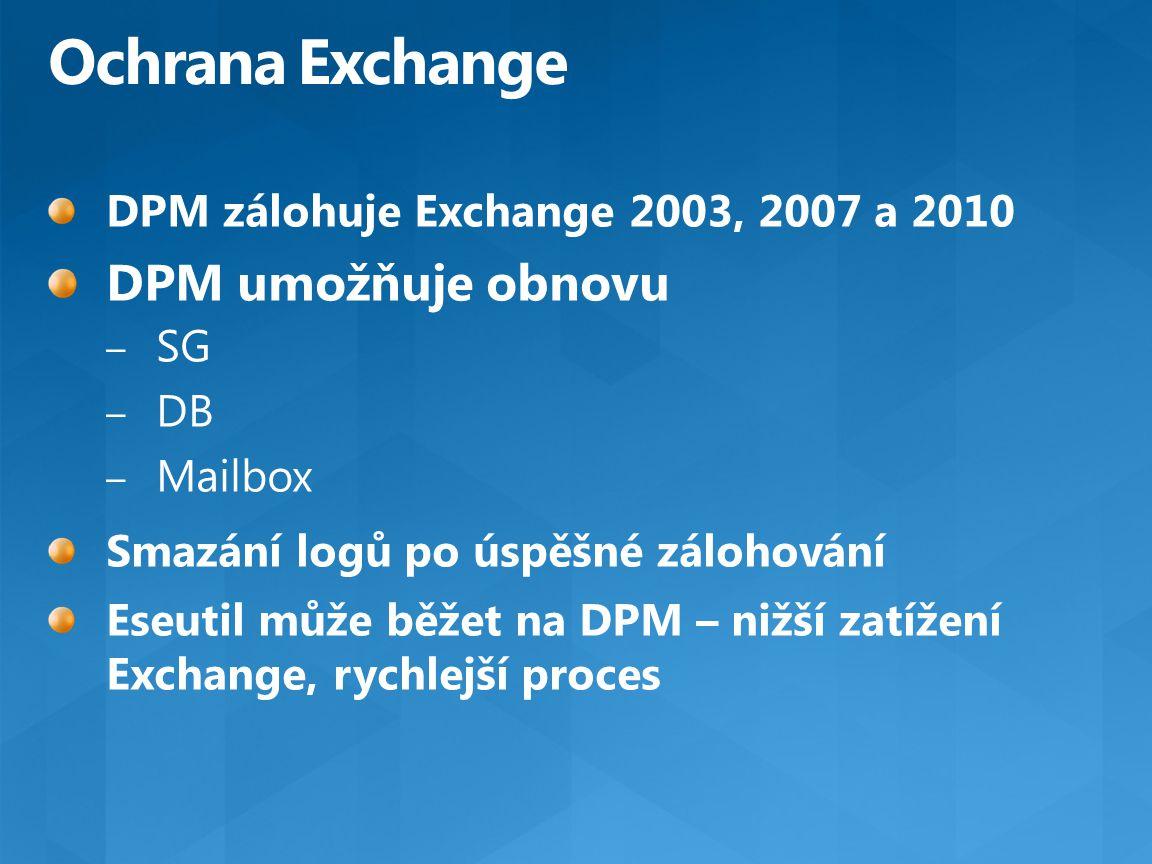 Ochrana Exchange DPM umožňuje obnovu