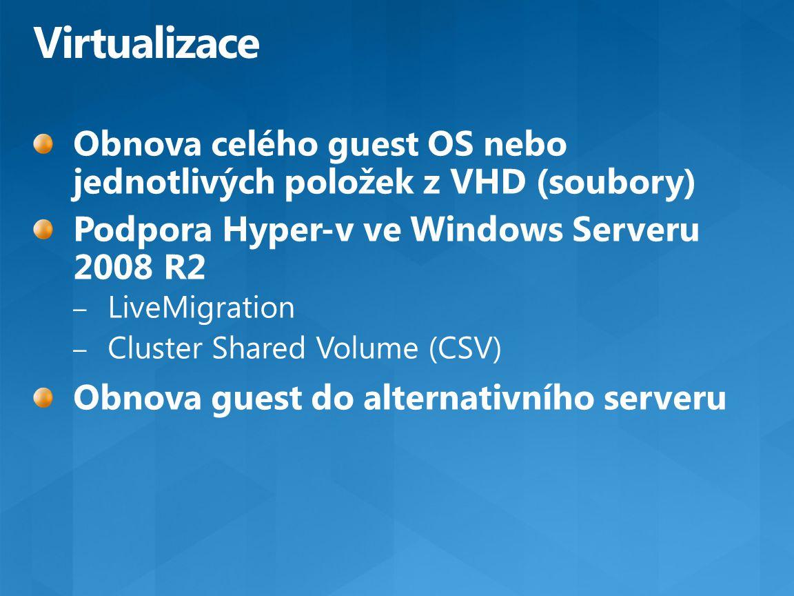 Virtualizace Obnova celého guest OS nebo jednotlivých položek z VHD (soubory) Podpora Hyper-v ve Windows Serveru 2008 R2.