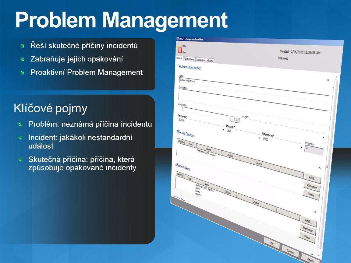 Problem Management Klíčové pojmy Řeší skutečné příčiny incidentů