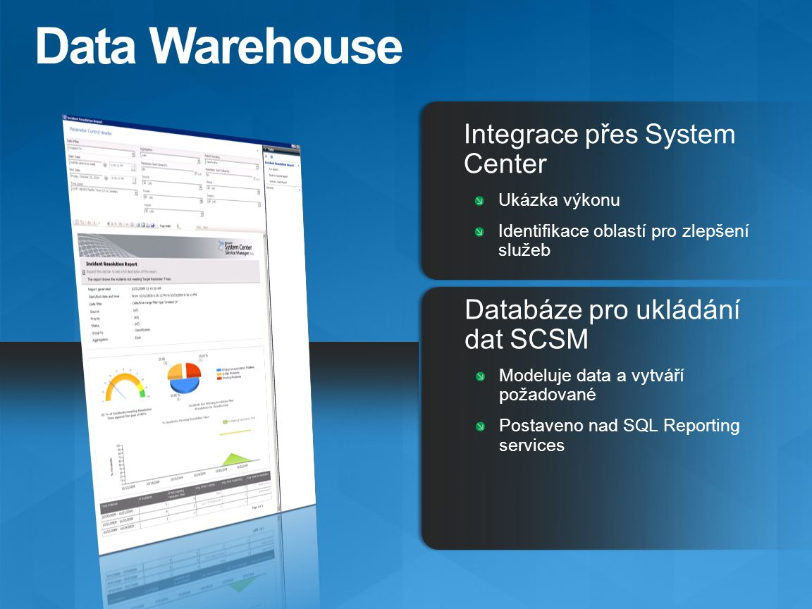 Data Warehouse Integrace přes System Center