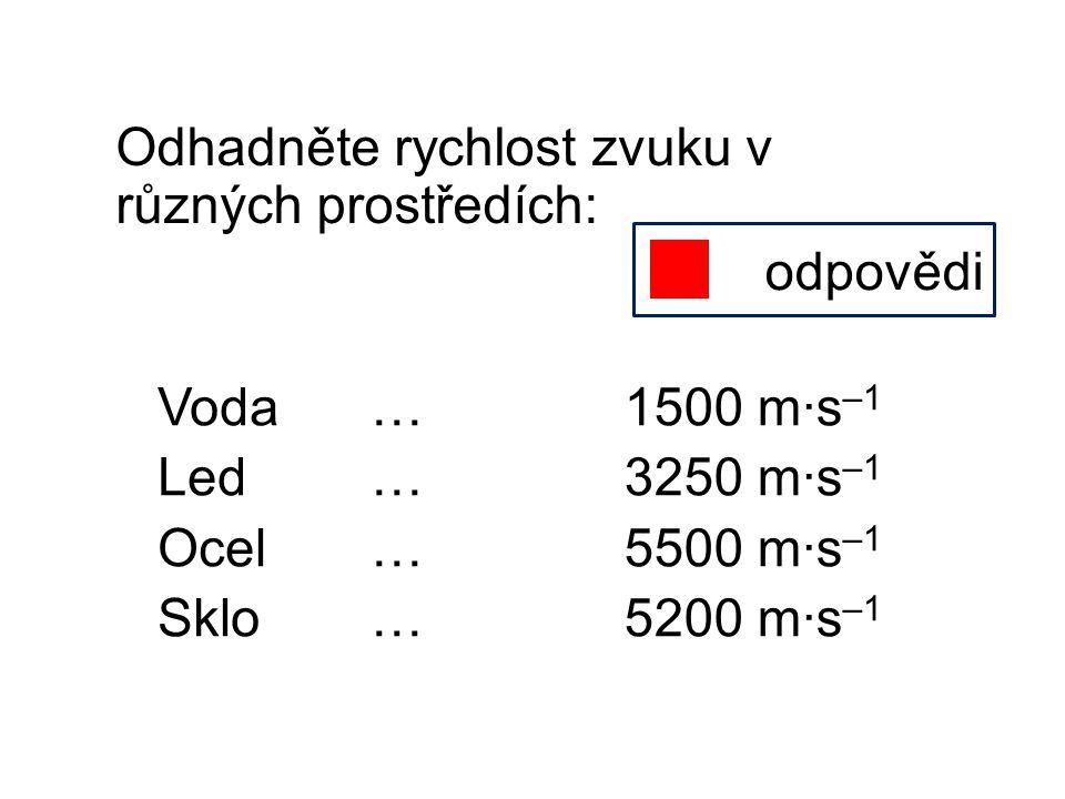 Odhadněte rychlost zvuku v různých prostředích: