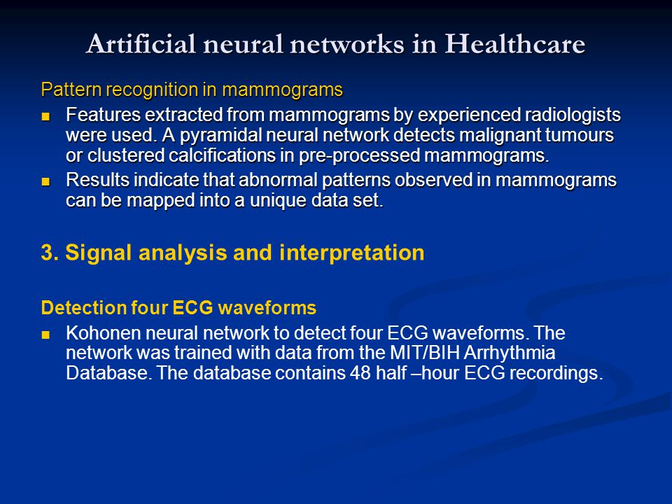 Artificial neural networks in Healthcare