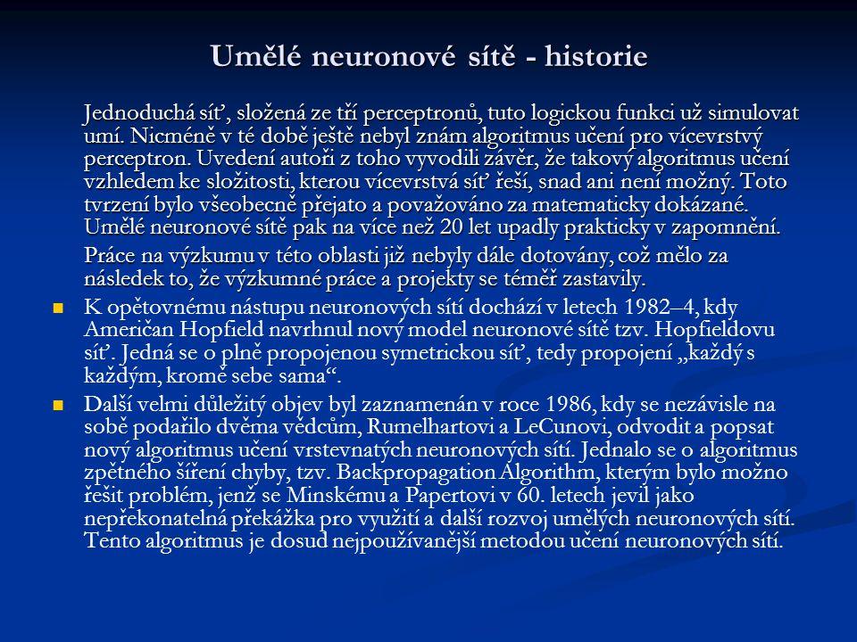 Umělé neuronové sítě - historie