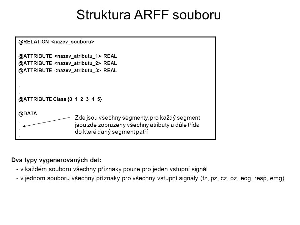 Struktura ARFF souboru